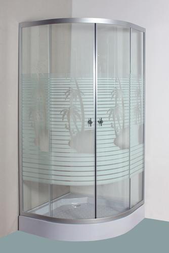 Cabină de duș - decor cu linii și palmieri